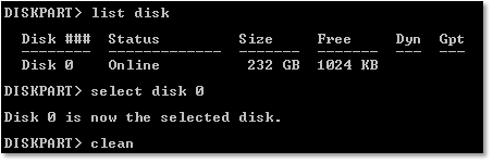 clean disk using diskpart